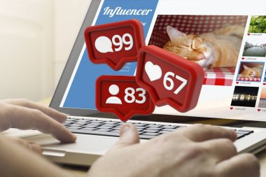 online business concept, man using laptop with social media notifications on screen