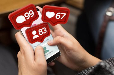 woman using digital generated phone with social media notifications