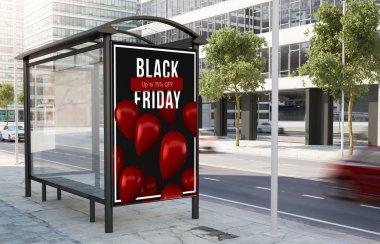 Bus stop Black Friday billboard on the street 3d rendering