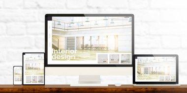 Responsive devices showing interior design website 3d rendering stock vector