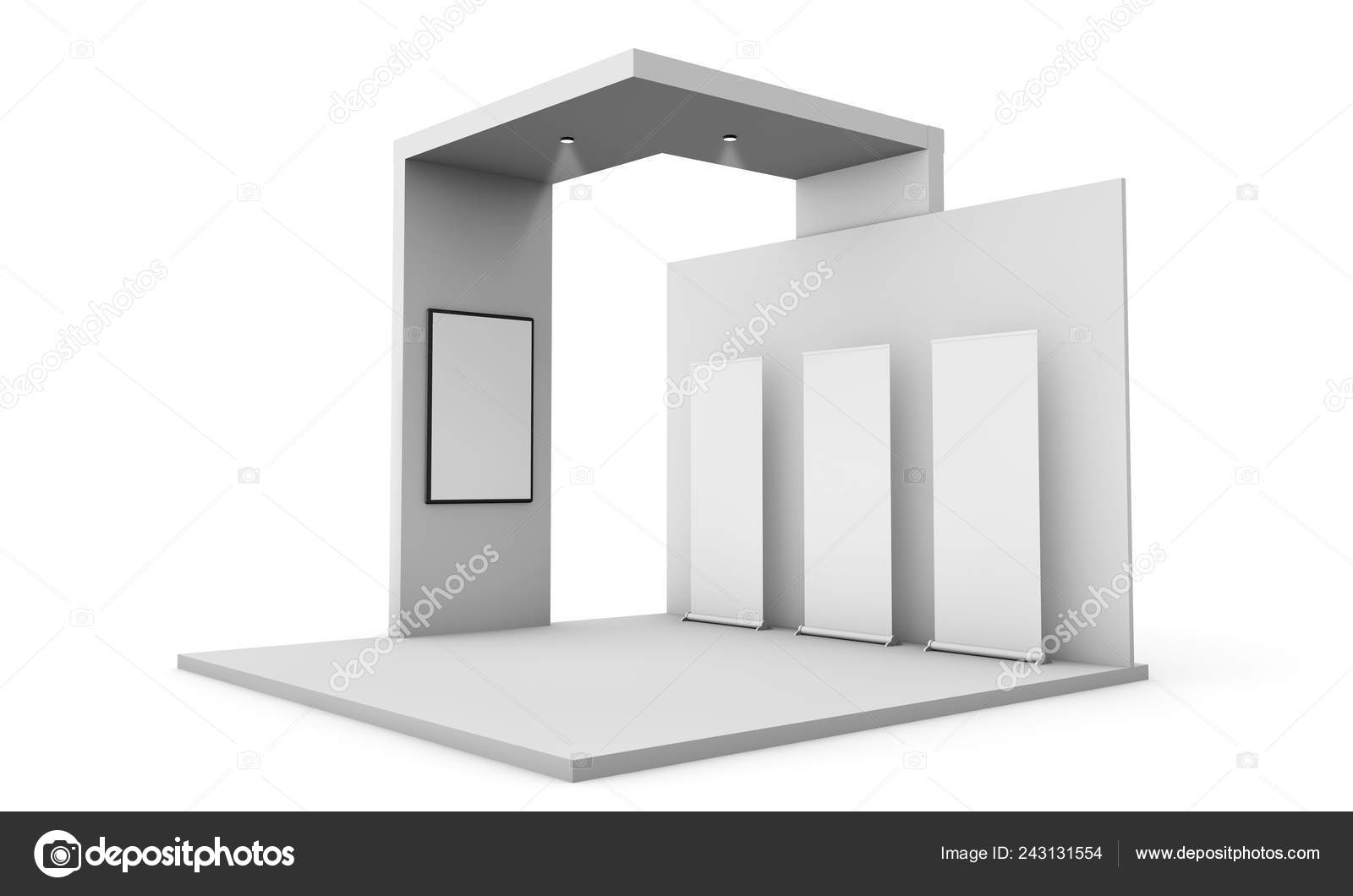 Exhibition Stall Mockup : Three roller poster mockup exhibition stand rendering isolated
