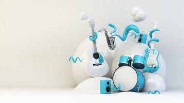 music instruments illustration 3d rendering