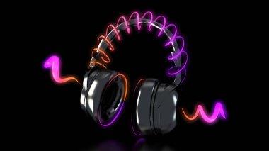 headphones and neon lights 3d rendering