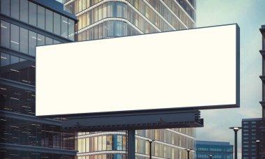advertising billboard on city 3d rendering mockup