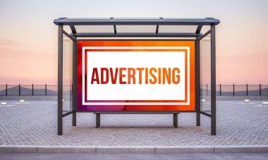 bus stop with big horizontal advertising mockup 3d rendering