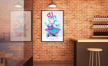 music poster mockup at bar 3d rendering
