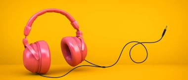 pink headphones on yellow background 3d rendering with jack wire illustration