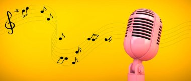 pink microphone and pentagram illustration on yellow background 3d rendering