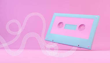 Pink and blue retro cassette 3d rendering with white lines