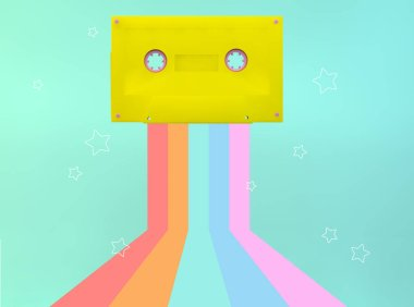 Yellow cassette 3d rendering with rainbow and stars illustration