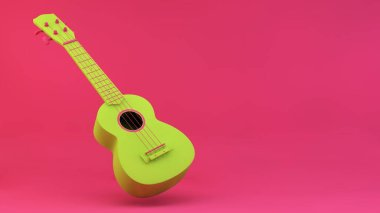 Green ukulele on pink background 3d rendering