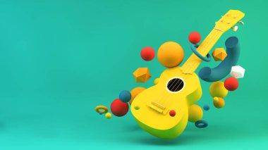 Colorful ukulele background with floating shapes 3d rendering