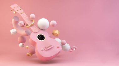 Pink ukulele with abstract shapes floating 3d rendering