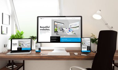 3d rendering of computer, notebook, tablet and smartphone showing website builder stock vector