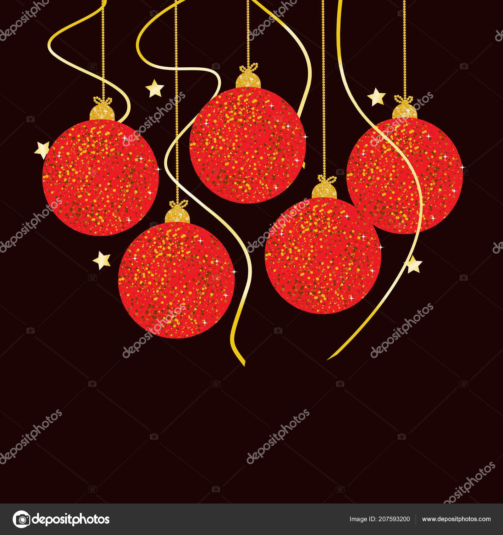 New Year Background Colorful Christmas Balls Greeting Invitation