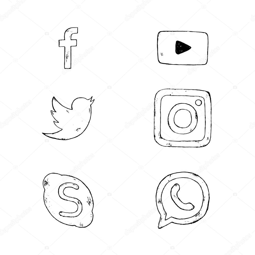 Vector hand drawn social media icons. Social media icons set.