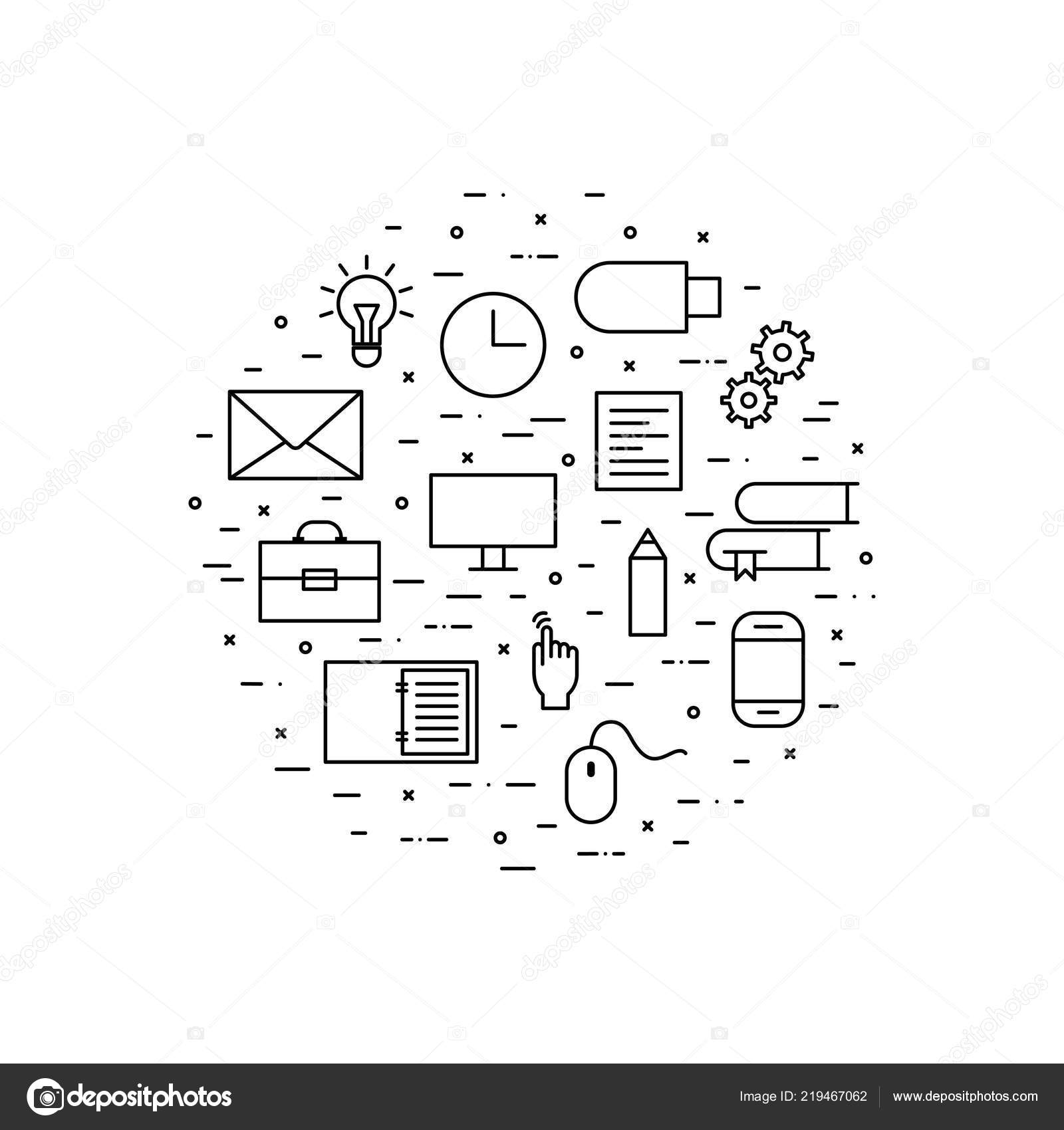 Vector outline icons computer books pencil sheet paper open notebook