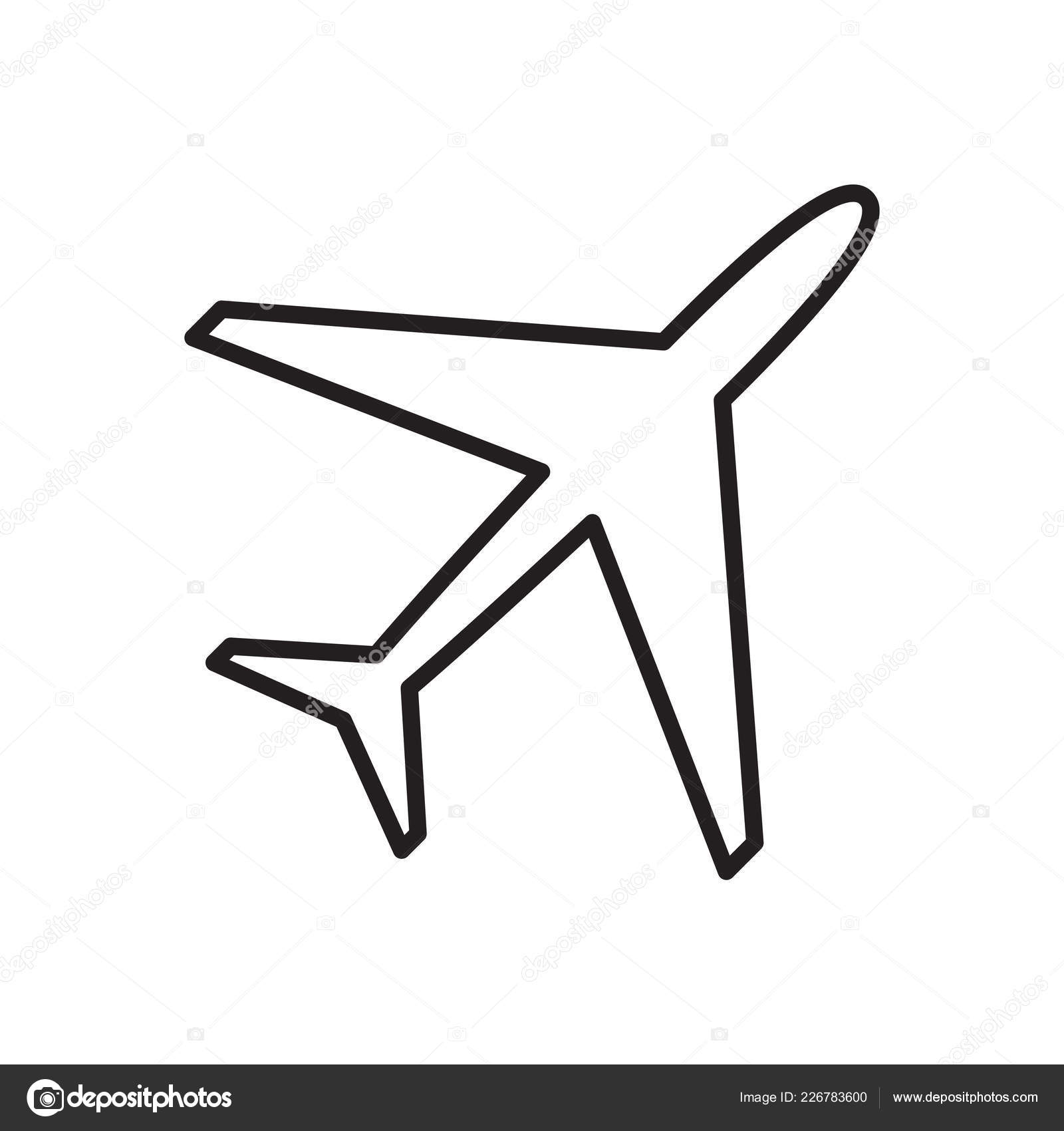 Vector Black Outline Airplane Vector Airplane Icon — Stock
