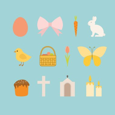 Vector set of Easter icons. Easter icons collection in flat style. icon