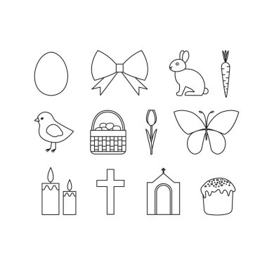 Vector set of outline Easter icons. Easter icons collection. icon