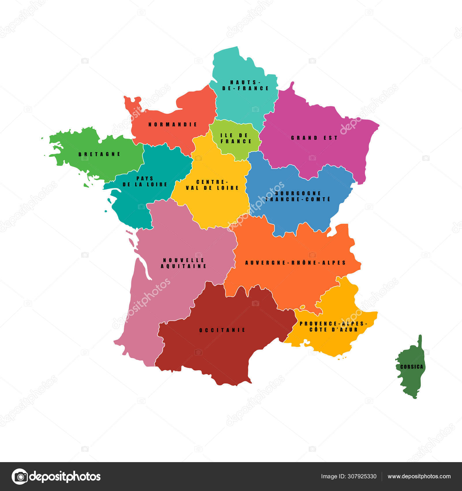 France Regions Map Vector Map French Regions Stock Vector