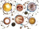 Watercolor cups of coffee with coffee circles and splashes around, top view.