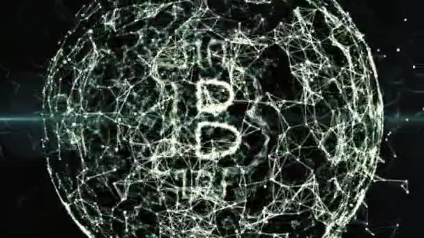 abstraktní geometrické pozadí blockchain s pohyblivými čar a teček. opakování cg animace