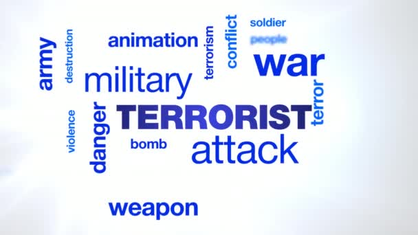 terrorist attack danger military terrorism war weapon animation bomb army terror animated word cloud background in uhd 4k 3840 2160