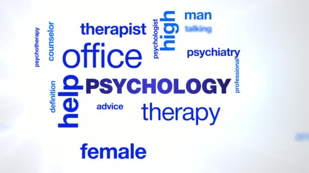psychology therapy help office psychologist psychiatry female therapist advice psychotherapy professional animated word cloud background in uhd 4k 3840 2160