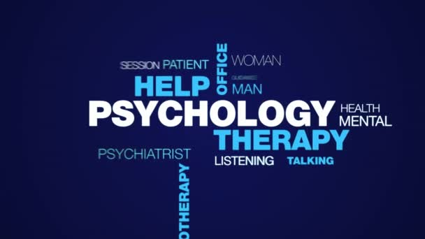 psychology therapy help office psychologist psychiatry female therapist advice psychotherapy professional animated word cloud background in uhd 4k 3840 2160.
