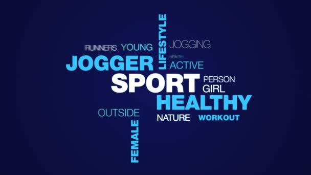 sport healthy jogger lifestyle fit fitness jog exercise runner female people animated word cloud background in uhd 4k 3840 2160.