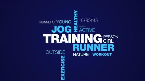 školení životního stylu zdravé běžce běhat běžec fit fitness sportovní cvičení žen animovaný slovo cloud pozadí v uhd 4k 3840 2160.