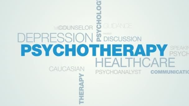 pszichoterápia egészségügyi depresszió pszichológia mentális egészségügyi probléma stressz ember terápia tanácsadás animált szó felhő háttér uhd 4k 3840 2160