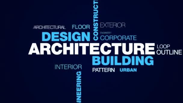 Architektura budov stavební struktury technologie plán obchodní město inženýrské koncepce designu animovaný slovo cloud pozadí v uhd 4k 3840 2160.