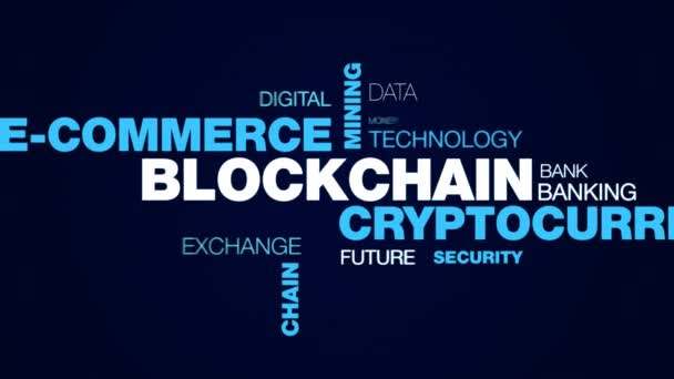 blockchain cryptocurrency e-commerce bányászati bitcoin blokk gazdaság ethereum üzleti lánc token animált szó felhő háttér uhd 4k 3840 2160.