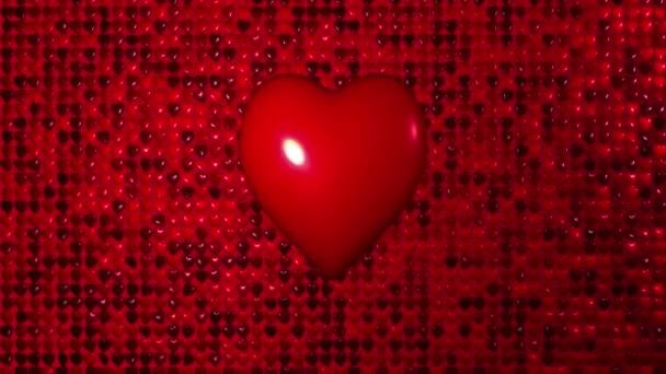 romantische fliegende rote Heizungen Wand Liebe Herz Hochzeit Hintergrund. für Valentinstag, Muttertag, Hochzeitsgrußkarten, Hochzeitseinladungen oder Geburtstags-E-Cards. nahtlose Schleife 4k.