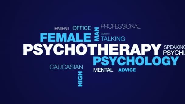 psychoterapie psychologie ženy muž terapie pomoci terapeut psycholog mužské vysokým rozlišením animovaný slovo cloud pozadí v uhd 4k 3840 2160