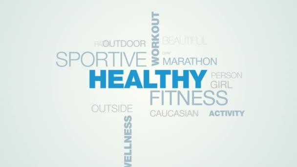 zdravé fitness sportovní cvičení aktivní životní styl cvičení běžec jogger wellness trénink animovaný slovo cloud pozadí v uhd 4k 3840 2160.