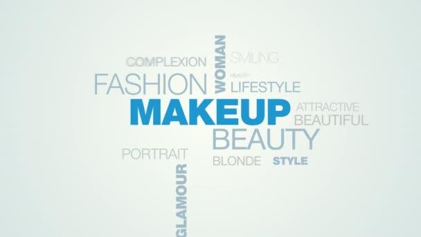 make-up krása móda žena kosmetika kosmetika tvář krása modelu glamour oči animované pozadí cloud slovo v uhd 4k 3840 2160