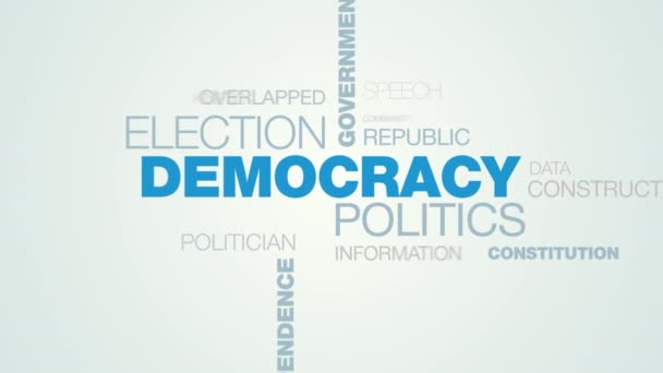 democracy politics election government freedom president ballot debate voting independence candidate animated word cloud background in uhd 4k 3840 2160.