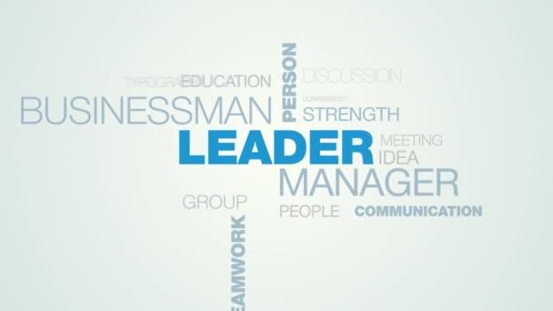 vedoucí manažer podnikatel osoby úspěch vedení ovlivnit práci šéfa týmová práce obchodní animovaný slovo cloud zázemí v uhd 4k 3840 2160