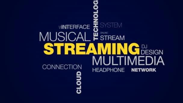 datové proudy multimediální hudební technologie média netflix mobilní rádiová melodii cloud server animovaný slovo cloud pozadí v uhd 4k 3840 2160.