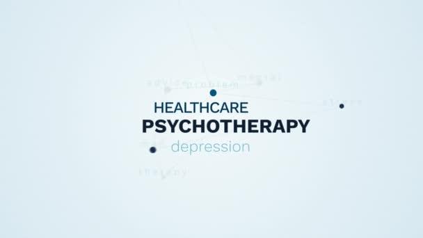 pszichoterápia egészségügyi depresszió pszichológia mentális egészségügyi probléma stressz ember terápia tanácsadás animált szó felhő háttér uhd 4k 3840 2160.