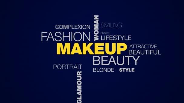 make-up krása móda žena kosmetika kosmetika tvář krása modelu glamour oči animované pozadí cloud slovo v uhd 4k 3840 2160.