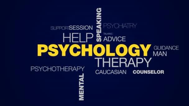 pszichológia terápiás segítség hallgató beszélgetés vita depresszió office mentális egészségügyi animált beszélő szó felhő háttér a uhd 4k 3840 2160.