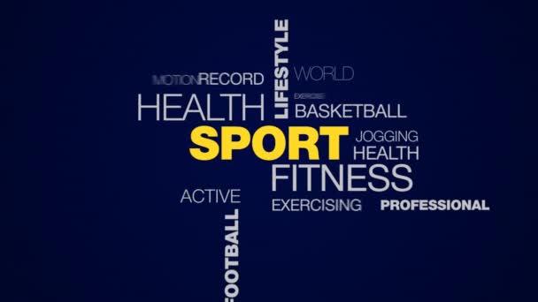 Sport egészség életmód olimpia maratoni edzésprogram futó edzést labdarúgó-bajnokság animált szó felhő háttér uhd 4k 3840 2160.