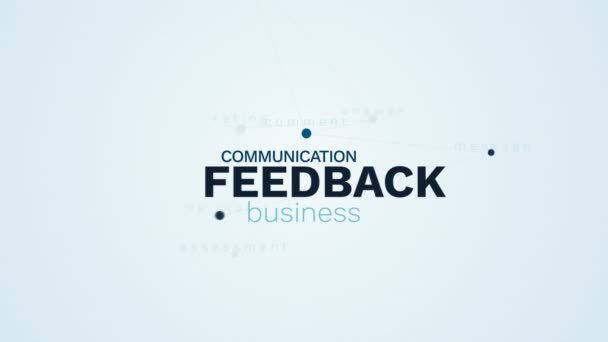 feedback reaction online assessment evaluation business client comment support communication talk animated word cloud background in uhd 4k 3840 2160.