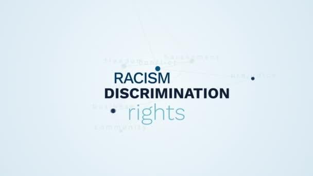 diskriminace rasismu práva šikanování obtěžování nesnášenlivost konflikt předsudky obchodní Společenství svobodu animovaný slovo cloud pozadí v uhd 4k 3840 2160.
