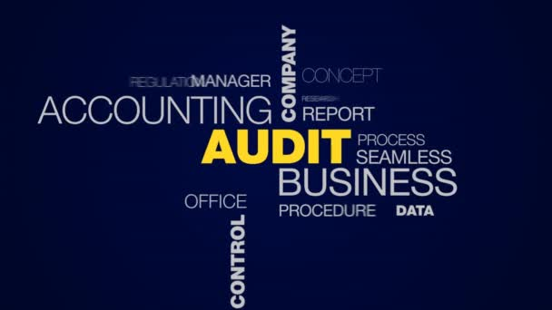 audit business accounting company finance analysis service success consulting control investment animated word cloud background in uhd 4k 3840 2160.