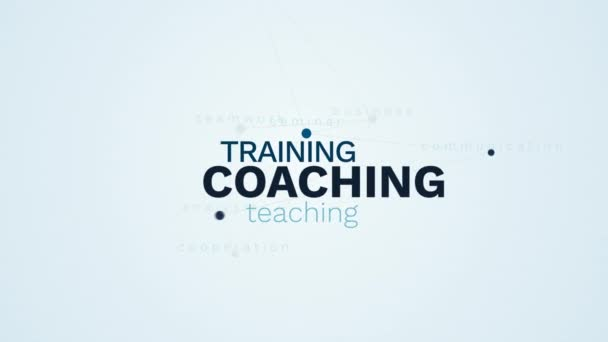 coaching training teaching meeting business coach seminar communication analysis cooperation teamwork animated word cloud background in uhd 4k 3840 2160.